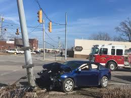 Car crashed into pole